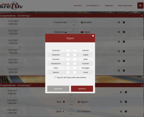 Tippabgabe des Tippspiels zur Handball-WM 2017