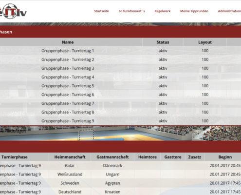 Turnierpflege im Administrationsbereich von Tippevent.de