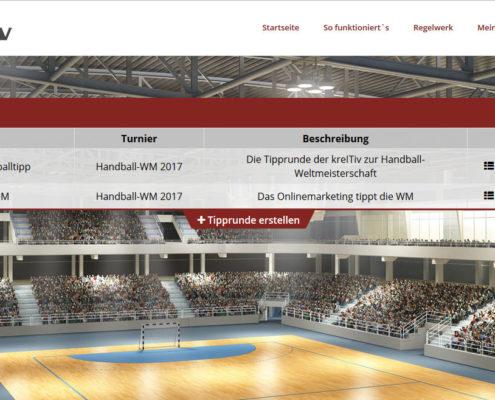 Tipprundenübersicht für individualisiertes Handball-Tippspiel