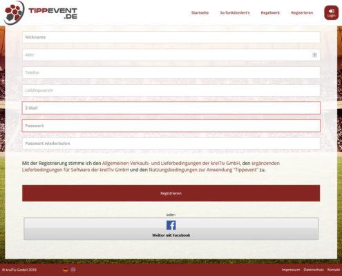 Tippspiel Nutzer Registrierung